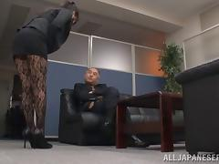 He pokes through her lacy stockings to finger her tight pussy