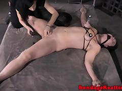 Tied up bondage sub harsh tormented
