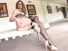 Horny cowgirl with hot ass masturbating with huge  vibrator in close up shoot