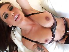 Cowgirl In Panties Handles Multiple Cocks And Swallows Cum