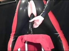 ff-fetish - deep dildo play in rubber catsuit tube porn video