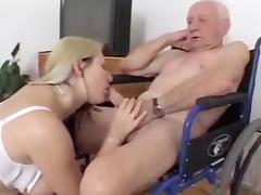 Older man fuck and get sucked by blondie