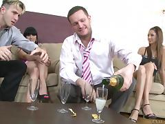 After a few drinks a business meeting turns into a drunken orgy