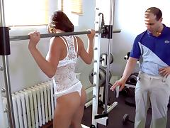 Elegant babes with natural tits licking massive balls lovely in the gym tube porn video