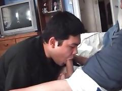 Asian boy such and swallow his neighbor