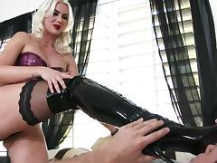 Boots, Blonde, Blowjob, Boots, Cum in Mouth, Cumshot