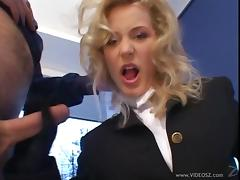 A hot cougar in a uniform gives a guy an amazing handjob
