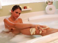 Allie Haze in the bath enjoying erotic masturbation