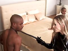 Two studs fucking a sexy anal slut in leather after getting head