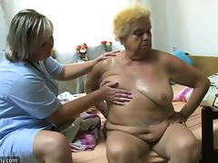 OldNanny Mature woman using dildo on chubby granny