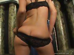 Blonde babe with small tits licking and sucking a stranger's big cock