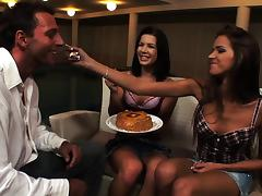 Two hotties invite a guy over for dinner and feast on his cock