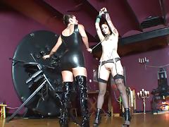 Horny BDSM sluts in leather sucking cock and fucking in bondage threeesome