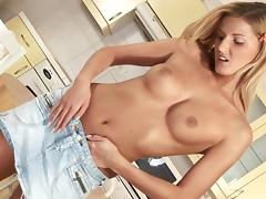 Compassionate solo model in miniskirt masturbating using huge toy in the kitchen
