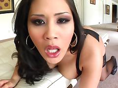 Asian with tongue piercing gives blowjob in POV before facial cumshot tube porn video