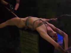 Brunette bimbo fucked in bondage scenes