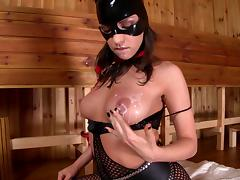 Masked hussy Latex Lucy fingers and toys her holes in hardcore solo tube porn video