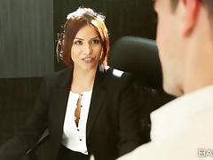 Hardcore clothed sex scene with hot brunette Isabella De Santos