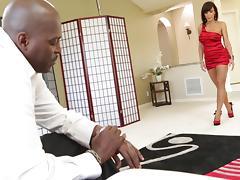 Horny MILF in high heels gets cumshot after screwed by black cock in interracial sex