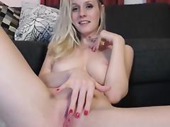 Hot young blond milf masturbates on webcam