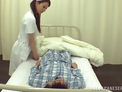 Stunning nurse in uniform giving her horny patient superb blowjob