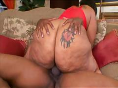 Fat ebony with a big ass eats his cock and then gets drilled