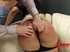 Curvy slaved cowgirl giving massive dick superb blowjob in BDSM sex