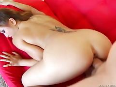 Tattooed Asian babe with nice ass gets cumshot after nailed doggystyle
