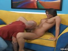 Fake-boobed brunette Madelyn Marie jumps on a cock after giving head