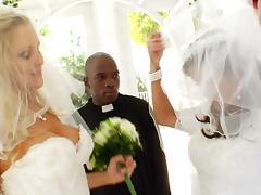 Charming Bride With Hot Ass Awarding A Big Black Cock Titjob