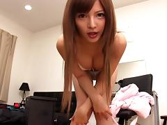 Attractive Asian solo model in sexy panties pleasing her pussy with a vibrator
