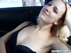 Blonde babe with natural tits teased using vibrator and screwed in threesome tube porn video
