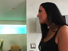 Brunette Veronica Rayne in thong rides cock doggystyle in her shaved pussy porn tube video