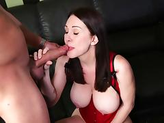 Brunette with big tits awarding her gentleman with stunning blowjob