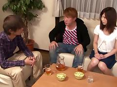 Pretty Japanese girl Kaori Aikawa favours a guy with a blowjob
