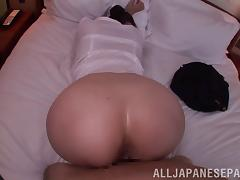 Asian Tatsumi Yui gives a nice blowjob before being drilled doggystyle in POV