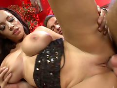 Lecherous brunette with fake tits getting her pussy drilled hardcore