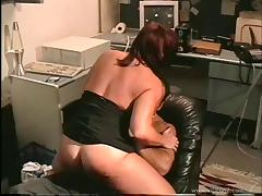 Busty MILF gets fucked hardcore after face fucking in the office tube porn video