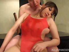 Luscious Japanese babe gets her big tits oiled before getting drilled hardcore