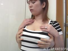 Asian chubby with big tits in a thong giving huge dick superb blowjob