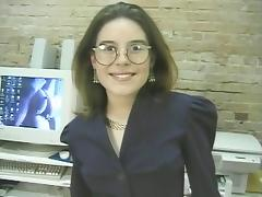 Babe, Babe, Boobs, Desk, Glasses, Masturbation