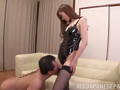 Yuna Hayashi gets pussy banged after sucking dick in nylons