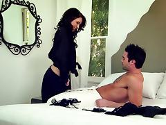 Marvelous brunette pornstar gives a blowjob before getting her wet pussy pounded hardcore