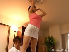 Asian slut Hana Haruna gets pussy banged in miniskirt and cumshot on ass