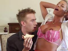 Sexy cougar with big tits moaning while her shaved pussy is licked nicely