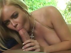 Enchanting blonde with long hair enjoying her asshole being drilled hardcore