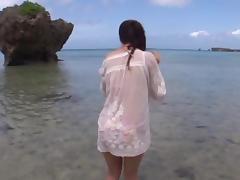 Hot Asian teen Minori Hatsune enjoys sex at the beach