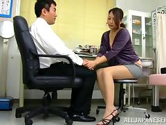 Beautiful Japanese bimbo in miniskirt having her tits sucked before getting fingered in the office