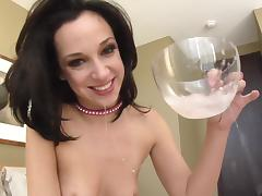 Jada Stevens swallows cum after giving blowjob and face fucked in POV tube porn video