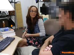 College babe learns a lesson from the Pawnshop owners cock tube porn video